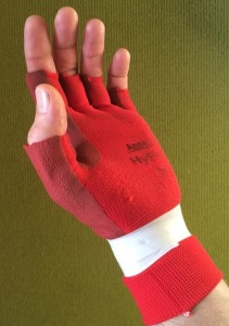 hack of gardening glove to protect hands crack climbing
