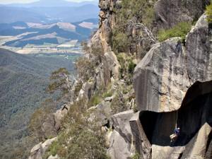 """Jugging"" second climber ascends rope. Plenty of exposure! Photo: David Scarlett"