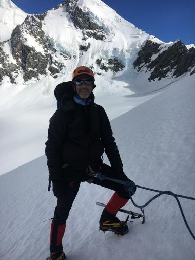 Happy mountaineering student